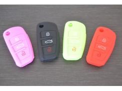 Obal na Audi klíč vystřelovací, silikon, červená barva