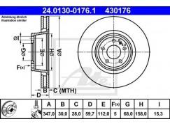 Brzdový kotouč ATE 430176, 4F0615301G
