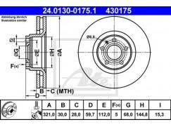 Brzdový kotouč ATE 430175, 4F0615301E