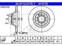 Brzdový kotouč zadní ATE 412176, 4F0615601G